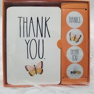 Rae Dunn Thank You Cards Set 12 card & Stickers